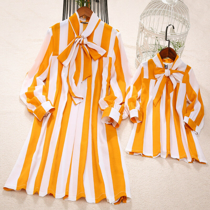 2019 New Fashion Mommy And Me Family Matching Yellow Striped Dress Mother Daughter Stripe Bow Neck Loose Boho Beach Dresses