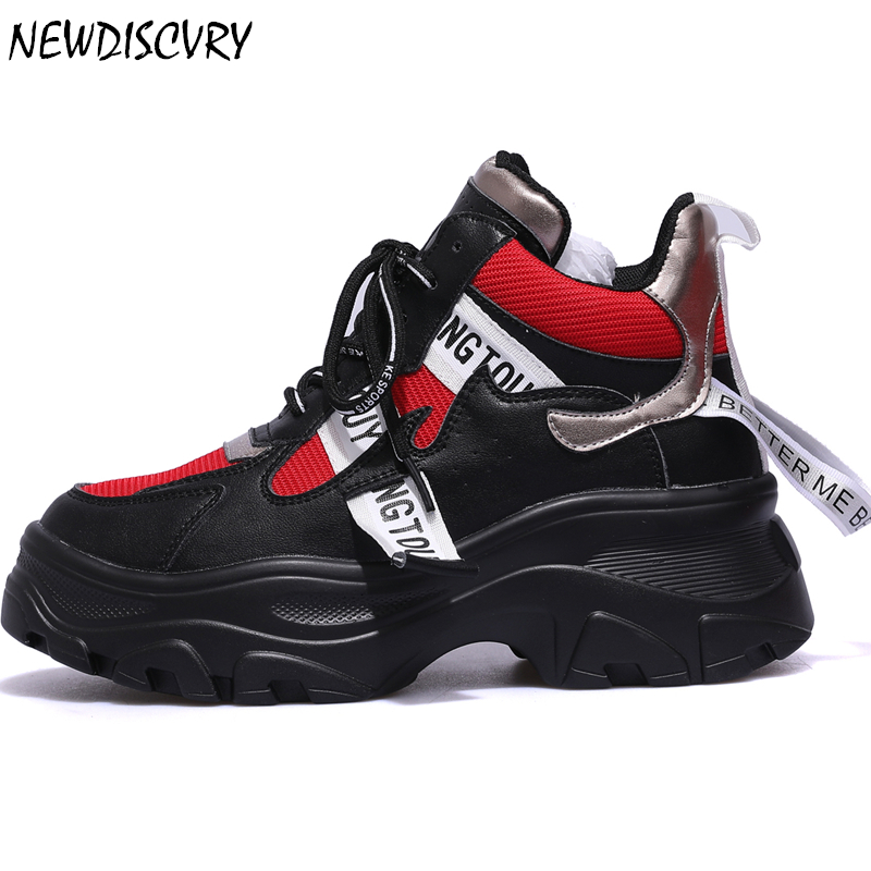 NEWDISCVRY Women s Chunky Sneakers Fashion Brand Comfortable Women Platform Sneaker 2019 High Top Trainers Casual