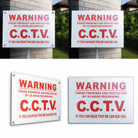 A5 Waterproof Warning Warning 24 Hour Video CCTV Camera Decal Metal Sticker Security Safety Sign White