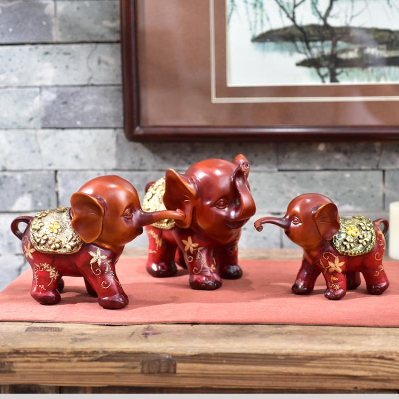 3pcs resin creative cute gift three small elephant office study room decoration a pro auspicious three treasures - 2