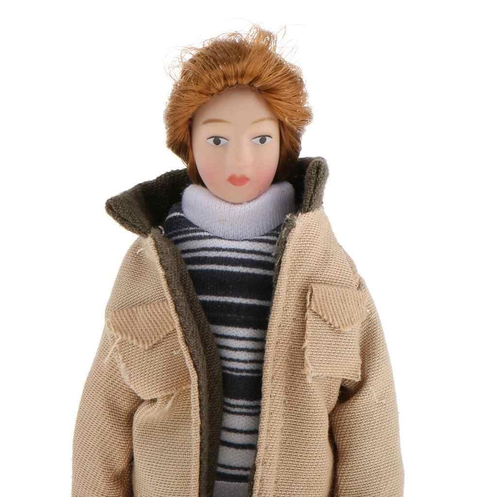 FBIL-1/12 スケールドールハウス人ミニチュア人形現代の若い男カーキジャケット