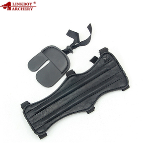 Linkboy Archery Shooting Protector Gear Set Leather Arm Bracer Hand Finger Guard Glove 2pcs Hunting Accessory Outdoor Shooting