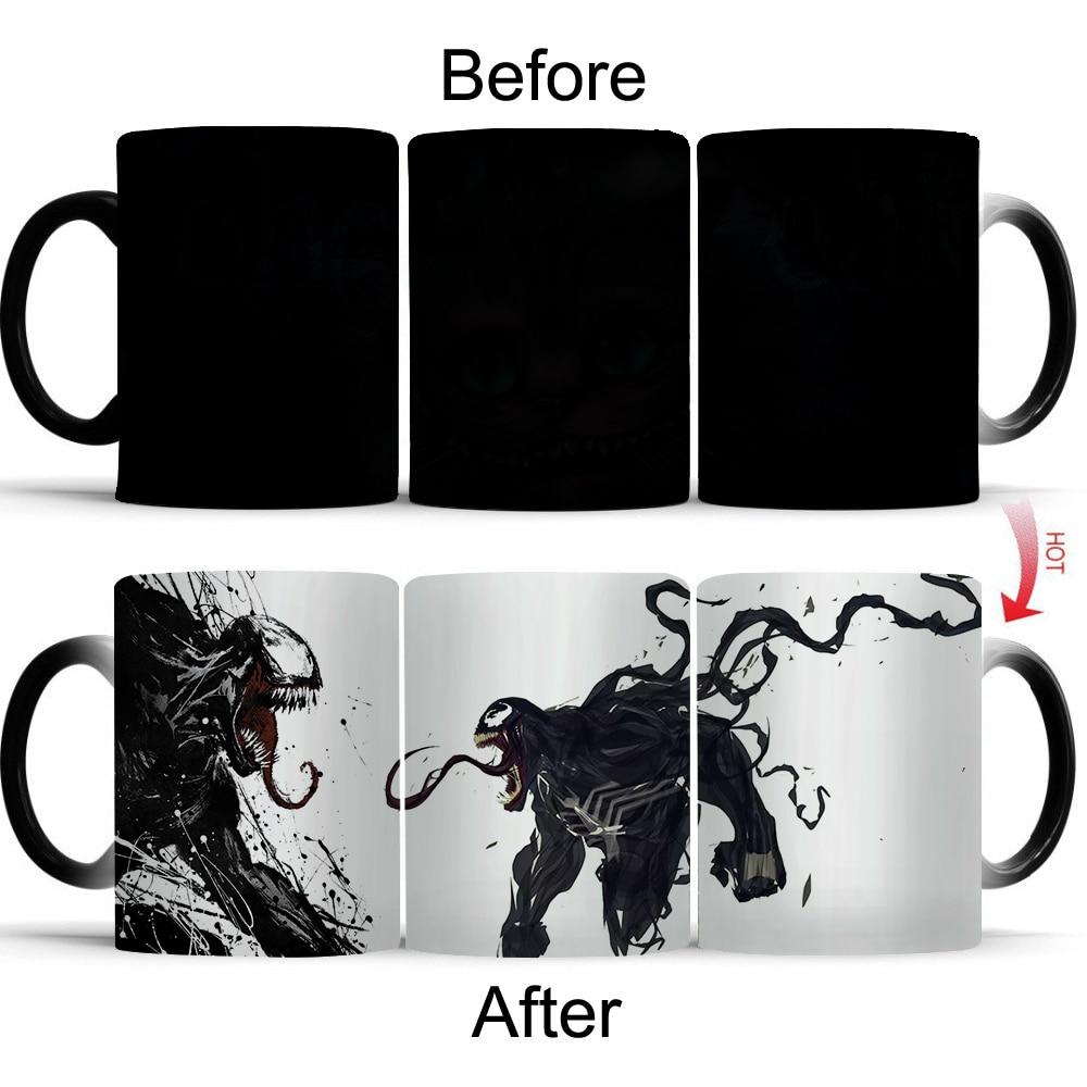 Giancomics Hot Venom Movie Cup Heat Sensitive Glass Coffee Beer Milk Color Changing Ceramic Mug Birthday Christmas Novelty Gift