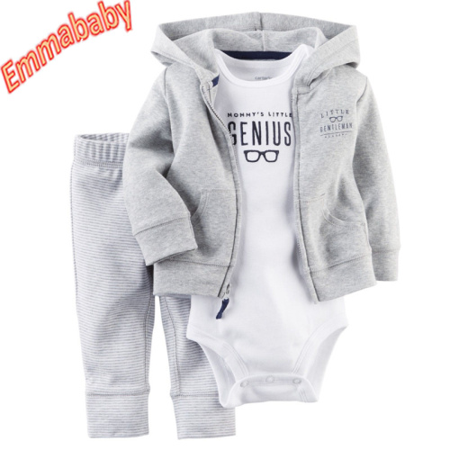 3pcs Infant Baby Boy Casual Coat+Romper+Pants Outfits Toddler Warm Clothes Set