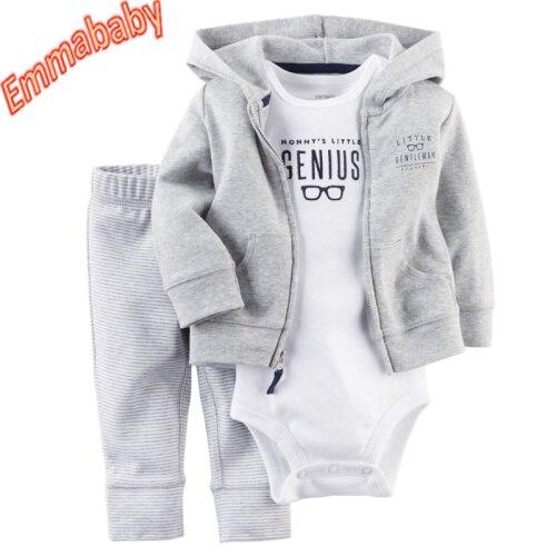 3pcs Infant Baby Boy Casual Coat+Romper+Pants Outfits Toddler Warm Clothes Set
