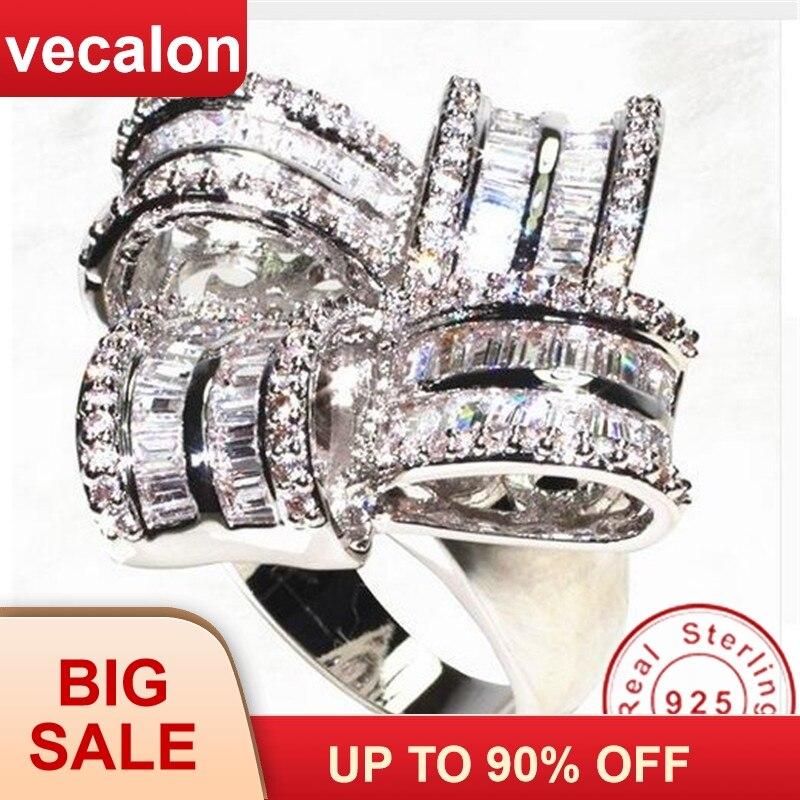 Vecalon Deluxe bague de fiançailles 925 sterling argent AAAAA zircone cubique Grand Engagement bague de mariage bagues pour femmes Parti Bijoux