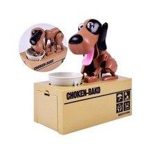цена на 1PC Electronic Cartoon Robotic Dog Piggy Bank Kids Gift Automatic Stole Coin Piggy Bank Funny Dog Money Saving Banks