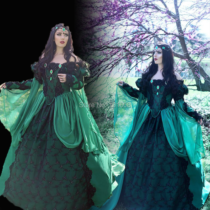 New!Eras Green Chiffon French Duchess dresses Halloween Costume Colonial Georgian Renaissance Gothic Historical dress HL-473