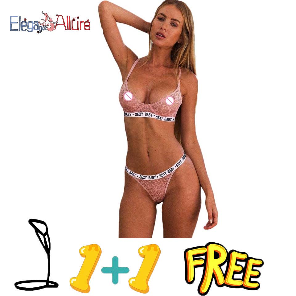 E A Send 1 Bra Free 2019 Sexy Lingerie Set Lace Bra and Panties Set New Bralette Wire Free Brassiere Hollow Out Underwear Briefs in Bra Brief Sets from Underwear Sleepwears