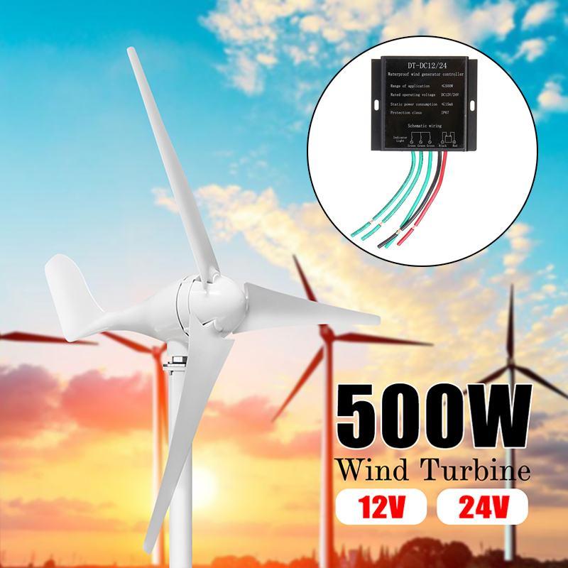 Real 500W Wind Generator+Controller 12V 24 Volt 3 Nylon Fiber Blade Horizontal Home Wind Turbines Power Energy Turbines ChargeReal 500W Wind Generator+Controller 12V 24 Volt 3 Nylon Fiber Blade Horizontal Home Wind Turbines Power Energy Turbines Charge