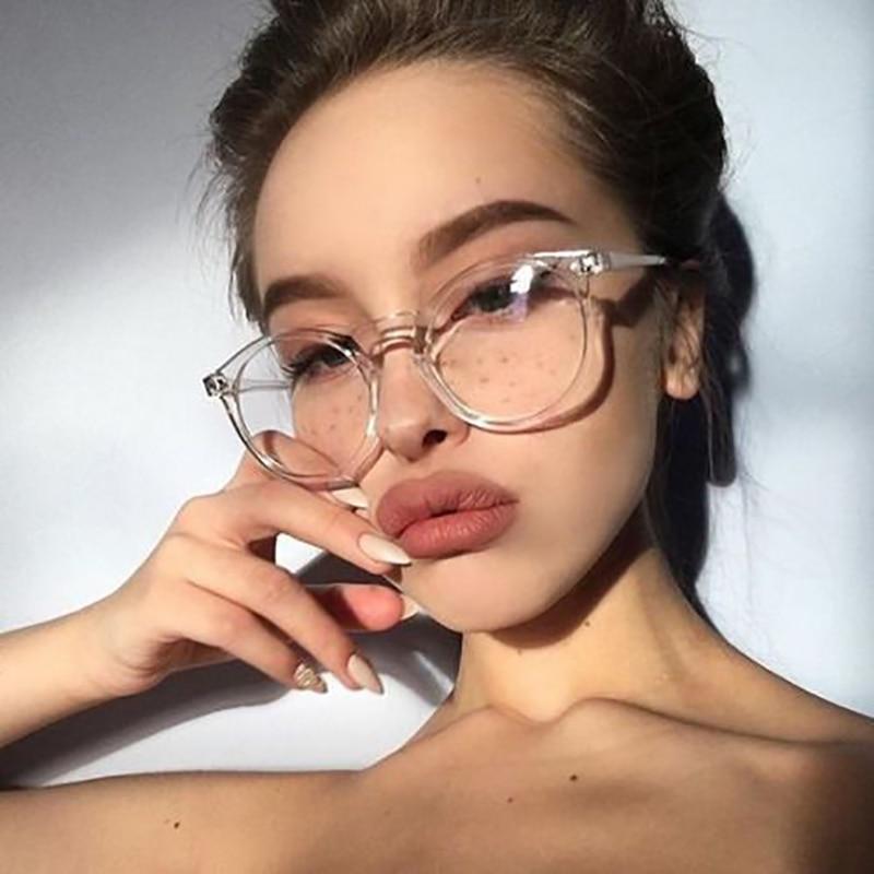 Retro Vintage gafas mujeres claro lente Oval friki Marco de vidrio atractivo gafas para fiesta Selfie Pose Lady Soild gafas