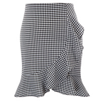 5482b95738 Women S Gingham Skirts Sexy Elegant Vintage Style Print Solid Color Ruffle  Decorated Hips Wrapped Skirt. Las mujeres de algodón faldas ...
