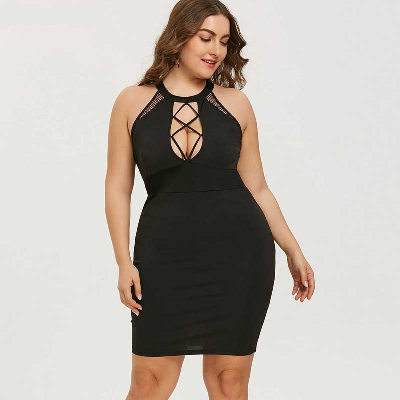 Wipalo Plus Size Mini Club Dress : Sleeveless Black Bodycon ...