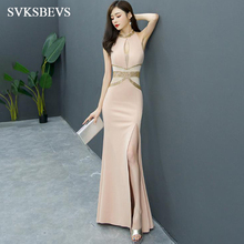 SVKSBEVS 2019 Luxury Crystal Halter Split Mermaid Long Dresses Elegant Bodycon Illusion Backless Party Maxi Dress