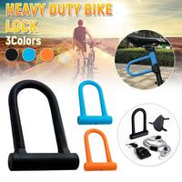 Anti Theft Bike Lock Heavy Bicycle U Lock Steel Cable Strip Lock Combination Protection Silicone Heat Bicycle Lock For Outdoor