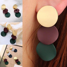 1 Pair New Elegant Women Ladies Round Dangle Long Ear Stud Earrings Fashion