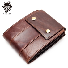 100% Genuine Leather Wallet Men Male Coin Purse Top Quality Cow With Zipper Pocket Card Holder