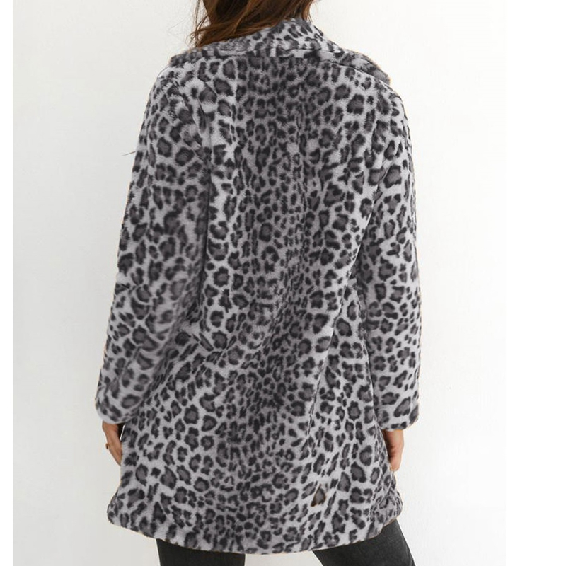 Neue frauen Leopard Pelz Langen Mantel Mode Strickjacke Outwear Winter Warme Jacke Tops