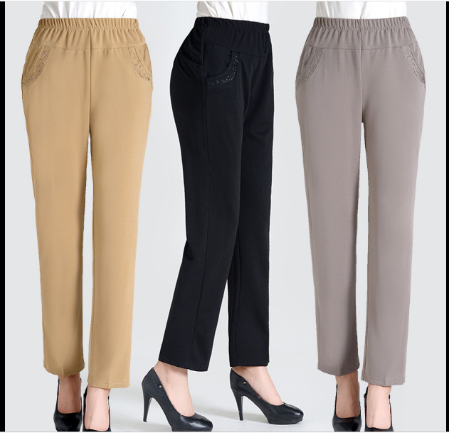 Spring Summer Middle Aged Women Casual Solid Color Pants High Waist Ankle Length Straight Pants Elegant Trousers Plus Size in Pants amp Capris from Women 39 s Clothing