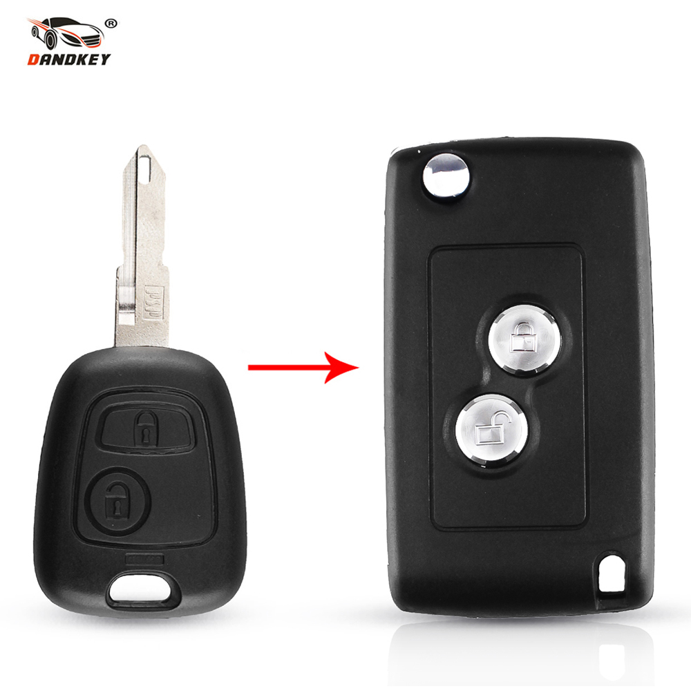 Dandkey Modified <font><b>Key</b></font> Shell Case Folding <font><b>Key</b></font> <font><b>Remote</b></font> Case For <font><b>Peugeot</b></font> 206 207 306 <font><b>406</b></font> For Citroen C2 C3 Xsara Picasso 2 Buttons image