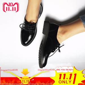 Image 5 - Flats British Style Oxford Shoes Women Spring Soft Leather Oxfords Flat Heel Casual Shoes Lace Up Womens Shoes Retro Brogues