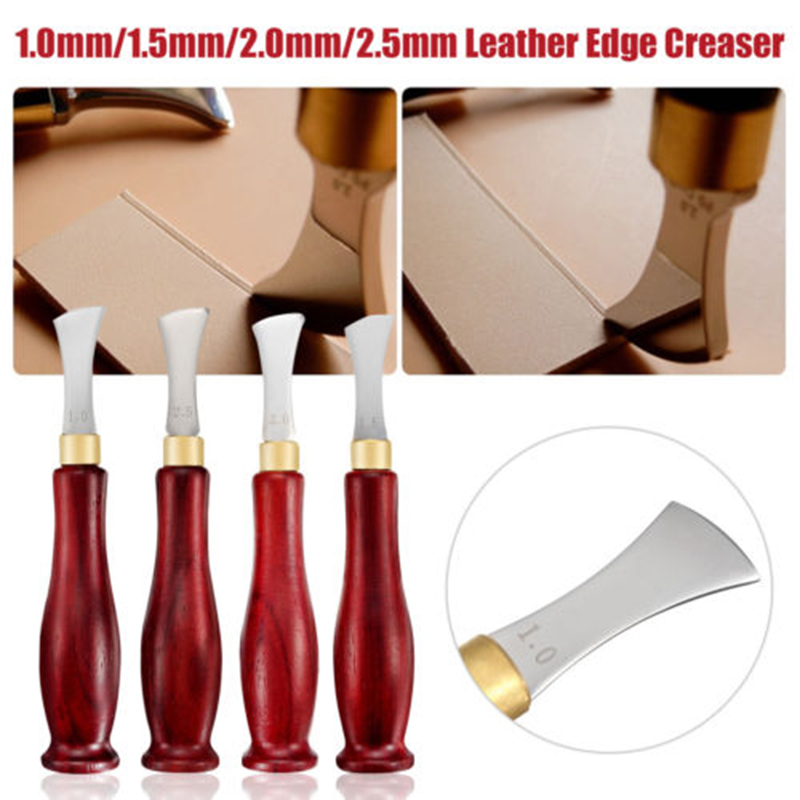 Stainless Steel Blade Leather Edge Creaser DIY Leather Craft Marking Decorate Tool 1MM/1.5MM/2MM/2.5MM Wooden Handle