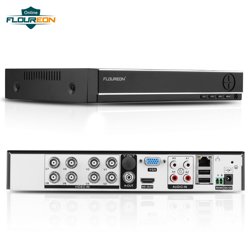 FLOUREON 5 IN 1 AHD DVR Support TVI/CVI/AHD/Analog/IP Cameras 8 Channels 1080N HDMI H.264 CCTV Security Video Recorder DVR