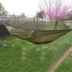 Image 2 - Camping Hammock Mosquito Net Portable Outdoor Garden Travel Swing Canvas Stripe Hang Bed Hammock 260*130cm