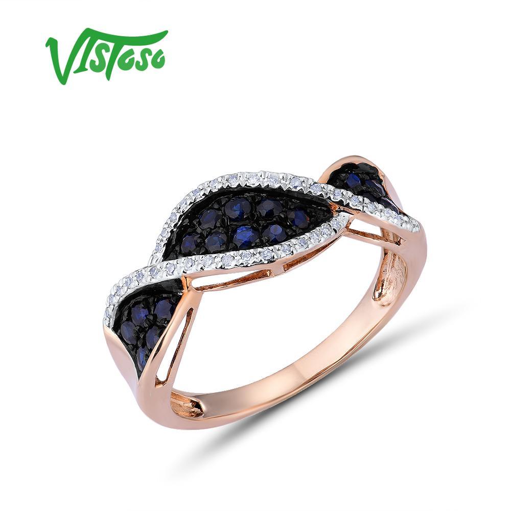 VISTOSO Anelli D'oro Per Le Donne Puro 14K 585 Oro Rosa Scintillante Anello di Diamanti Blu Zaffiro di Lusso Da Sposa di Fidanzamento Gioielleria Raffinata