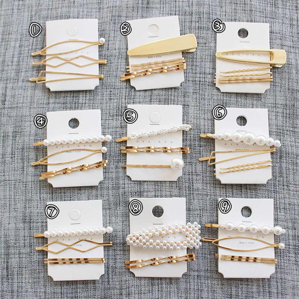 Elegant 3Pcs/Set Pearl Metal hair clips for women Hairpin hair clips for girls Barrette Bobby Pin Hairgrip Hair Accessories