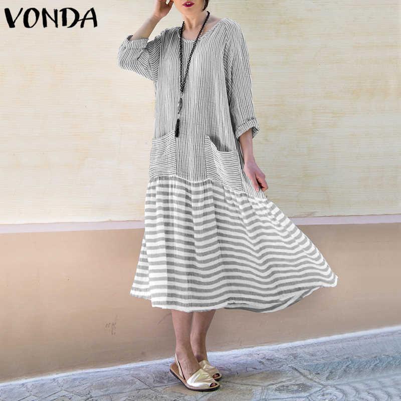 17f7c9a435 VONDA Women Vintage Long Dress 2018 Casual Long Sleeve Stripe Patchwork  Loose Dresses Party Vestidos Female Plus Size