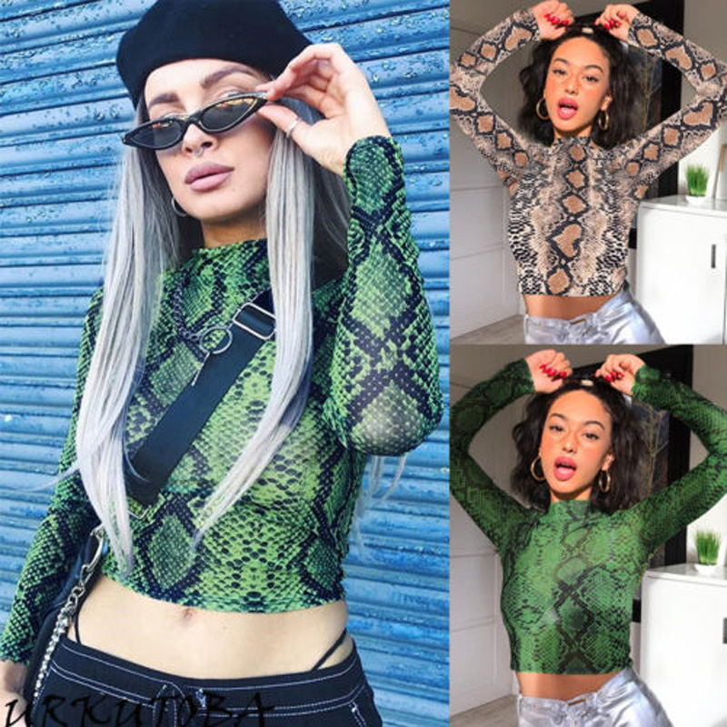 2019 Brand New Women Snakeskin Mesh Sheer Crop   Top   T Shirt Party See-through