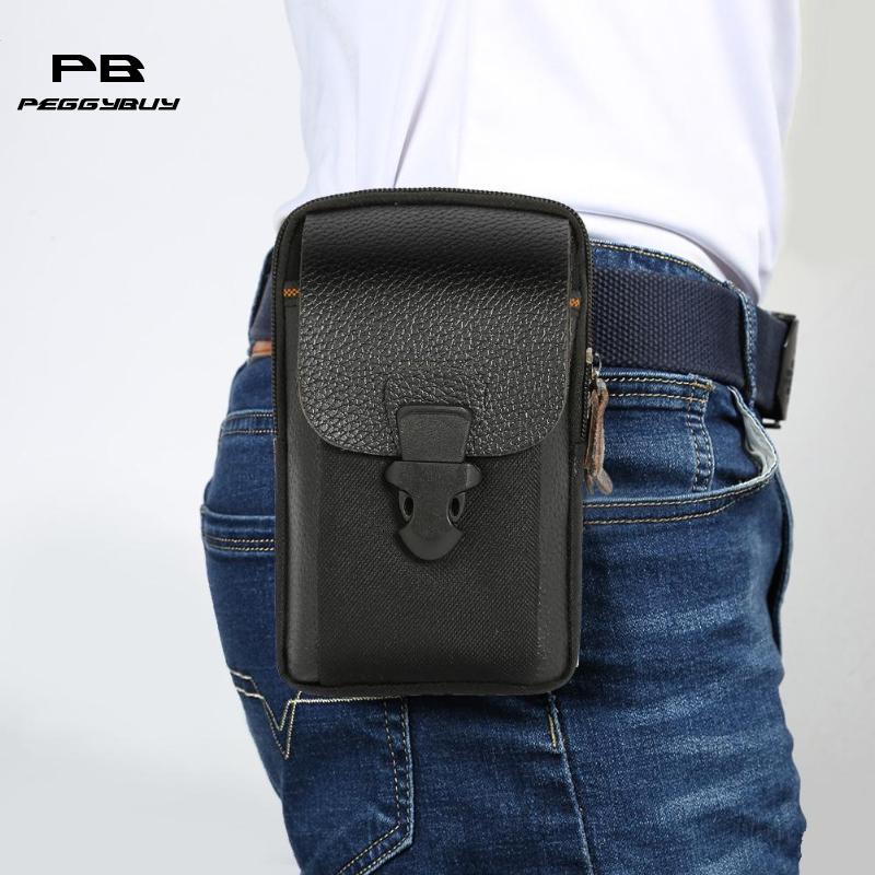 High Quality PU Leather Men Waist Bags Zipper Small Card Holder 6 Inch Phone Wallet Packs Belt Durable Fanny Purse Black Coffee