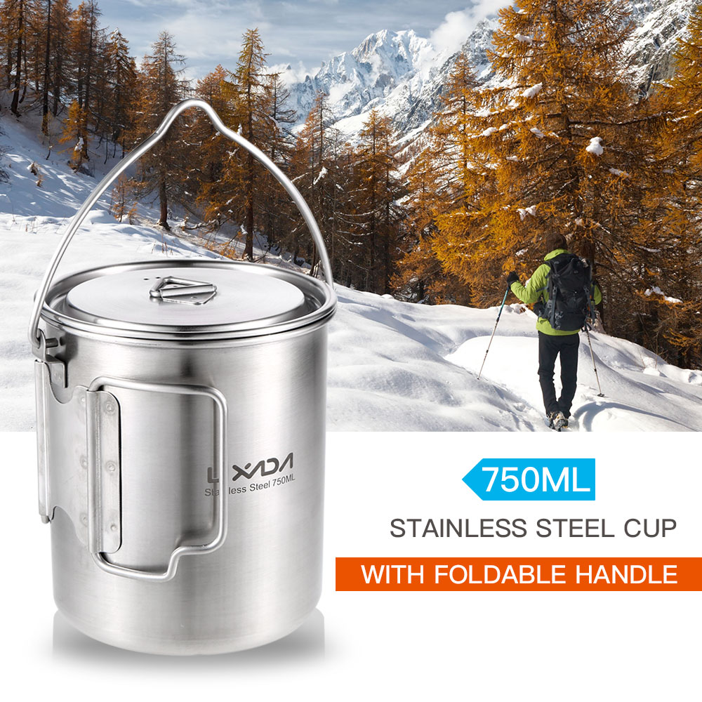 Lixada Outdoor Camping Cookware 750ml Portable Stainless Steel Pot with Lid and Foldable Handle Camping Hiking Cooking Picnic