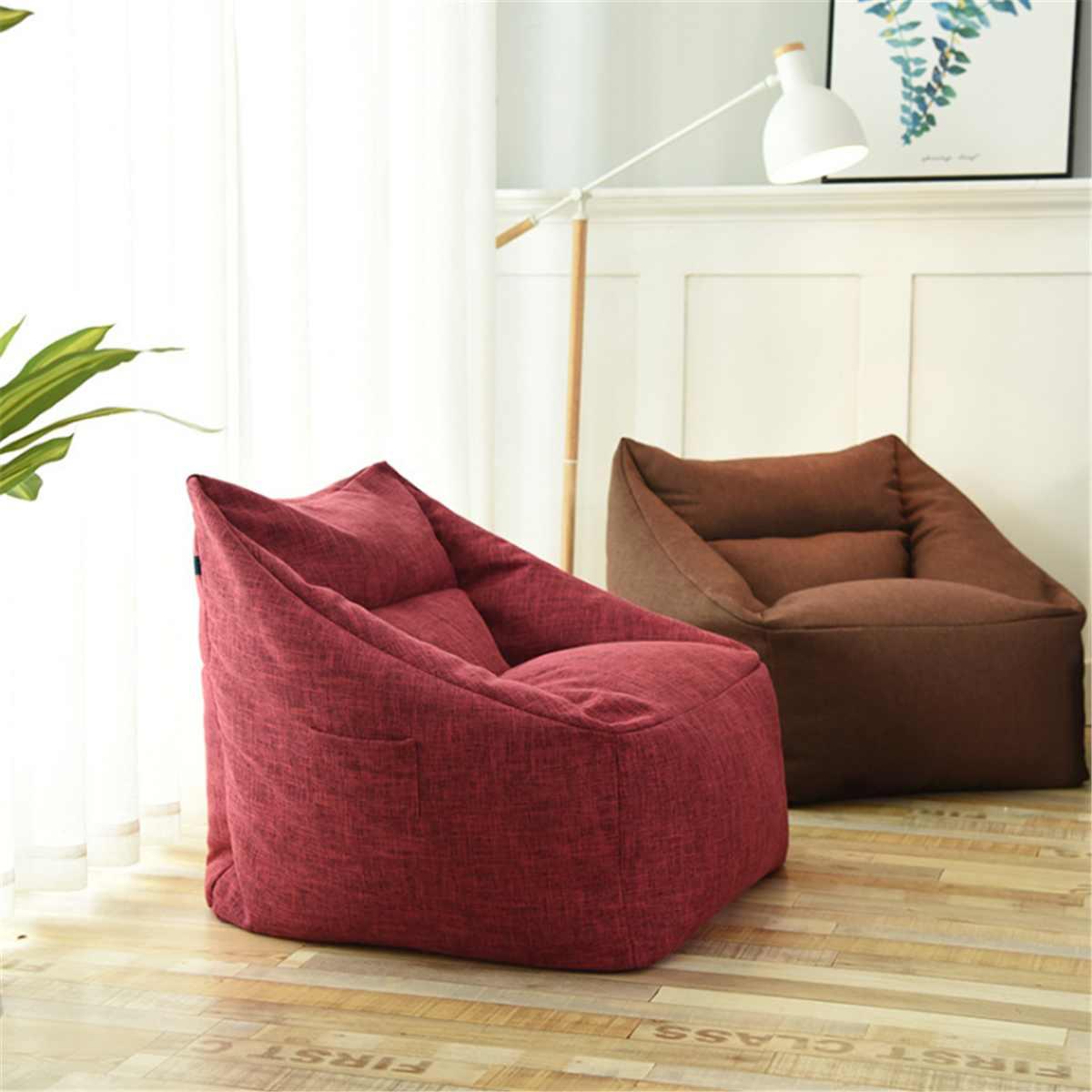 Lazy Sofa Indoor Seat Chair Cover Waterproof Beanbag Chair Lazybag Puff Sofas Large Bean Bag Cover Armchair Washable Cozy Game