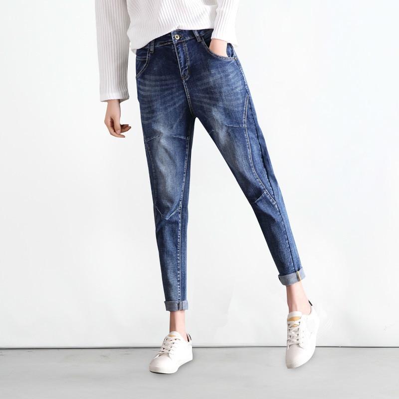 2019 Spring Summer New High Waist Boyfriend Jeans Women Blue Harem Denim Pants Mom Jean Femme For Women Jeans Plus Size 5XL