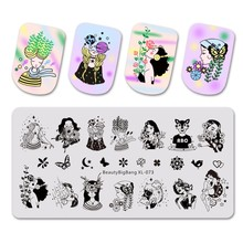 Beautybigbang Stamping Plate Beauty Girl Flower Butterfly Image 6*12cm Nail Stencil For Polish Art XL-073