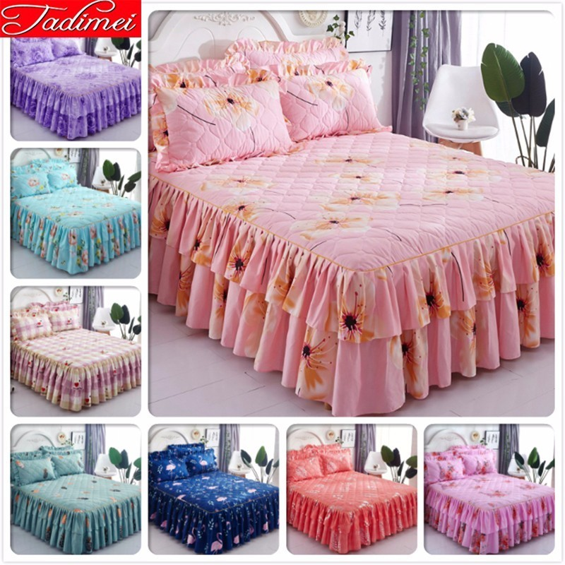 Pink Plaid Creative Thick Quilted Bed Skirt Double Lance Girl Couple Adult Kids Soft Cotton Sheet Cover Bedspreads 2m 1.5m 1.8m