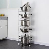 ORZ 5 Tier Kitchen Storage Shelf Stainless Steel Pan Stand Pot Holder Kitchen Accessories Organizer Rack Bathroom OrganizerShelf