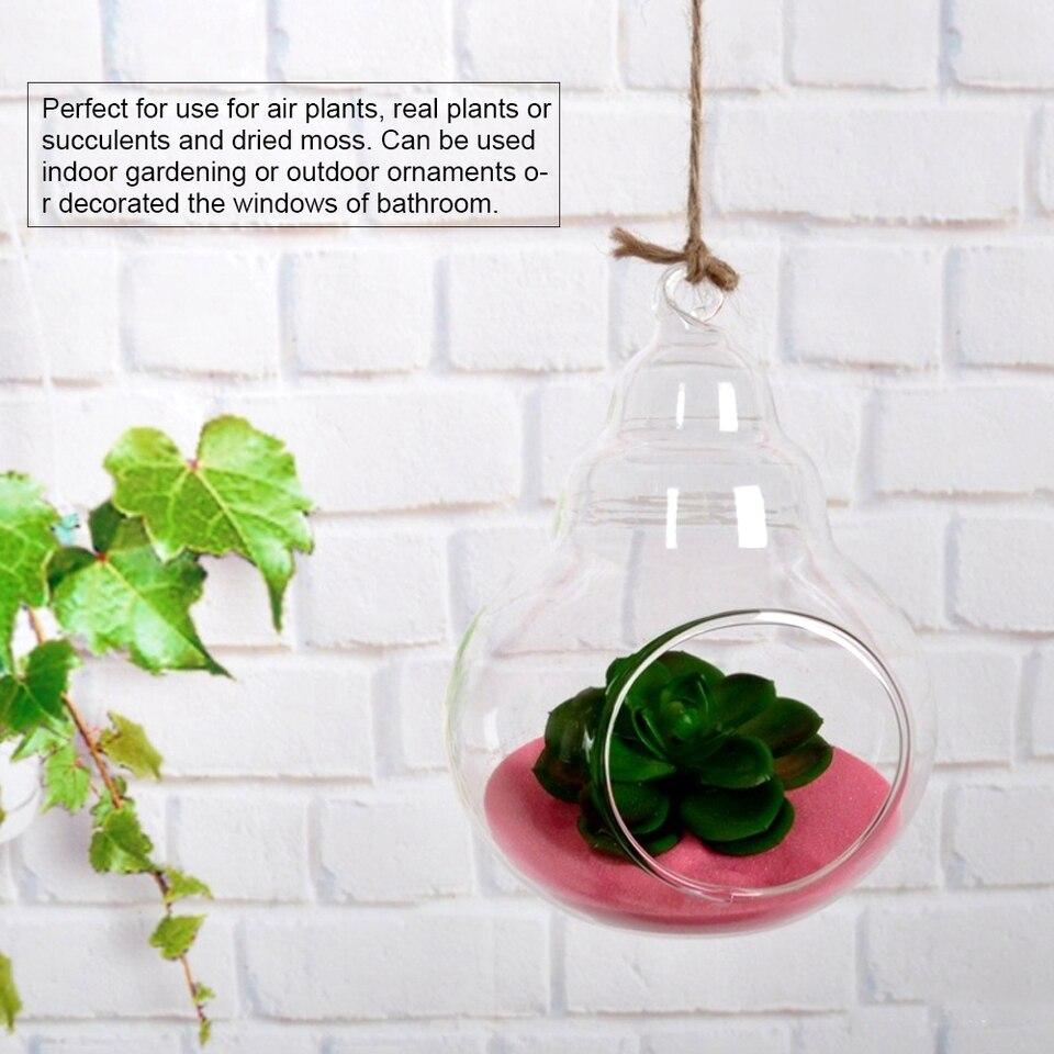 Terrario Per Piante Grasse appeso teardrop corda zucca a forma di terrari per aria piante grasse  succulente fioriere attaccatura di vetro vaso di fiori contenitore di piante