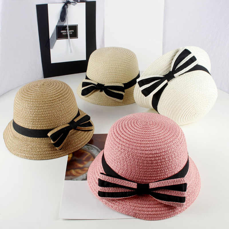 65225ccec12 MOLIXINYU 2019 Baby Summer Bow-knot Cap Fashion Children Straw Beach Cap  For Girls Infant