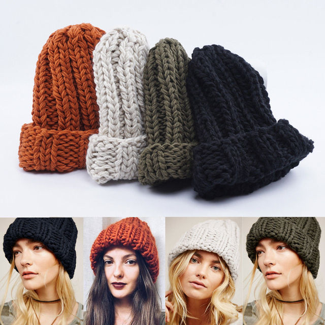 5af85d515b03e3 Beanie Plain Knit Hat Winter Warm Cap Cuff Slouchy Skull Hats Ski Men Women  Hats