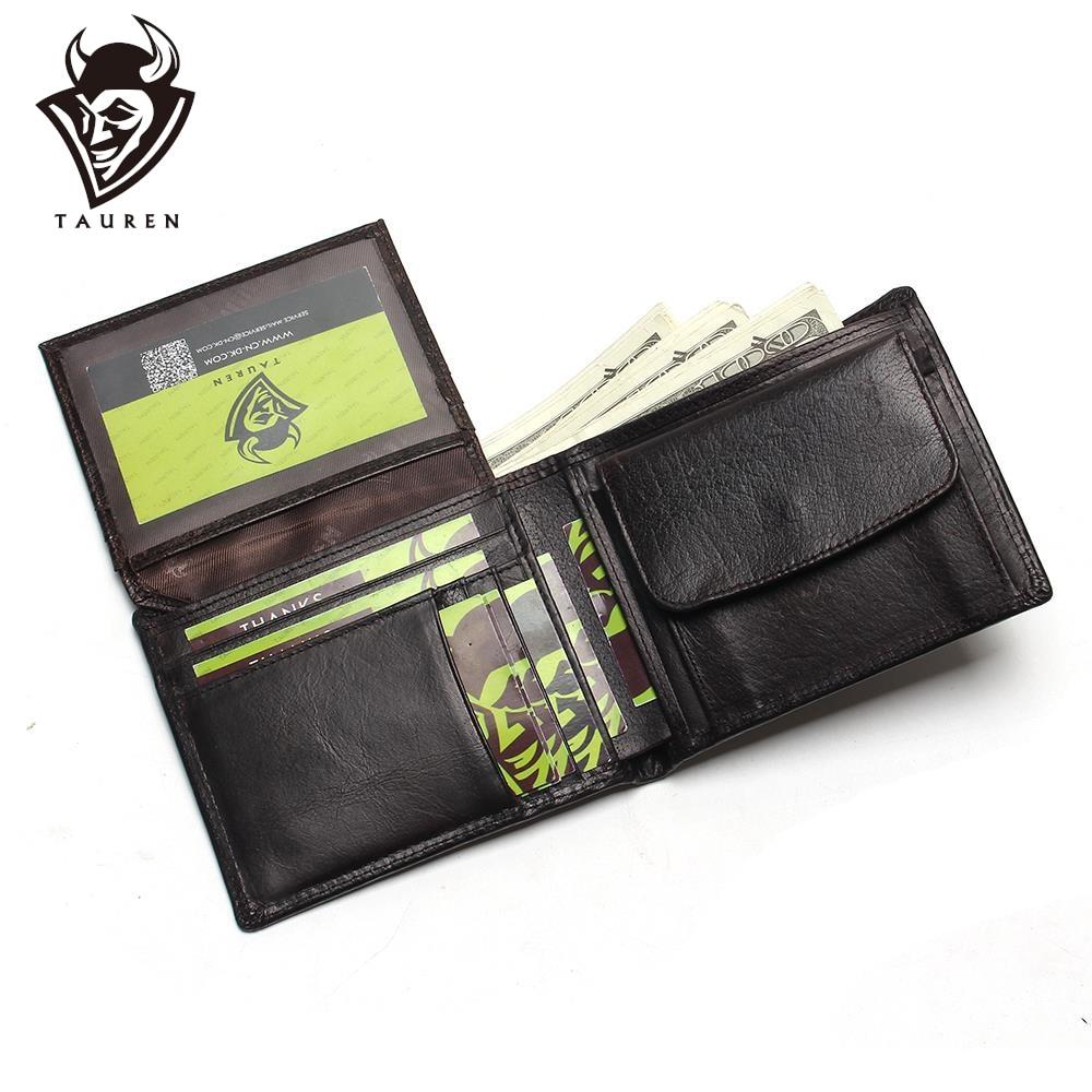 Liten Vintage Wallet Märke Hög kvalitet Vintage Designer 100% Äkta Crazy Horse Cowhide Läder Män Kort Mynt Handväska Plånbok
