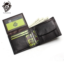 цена на Luxury Brand High Quality Vintage Designer 100% Top Genuine Crazy Horse Cowhide Leather Men Short Wallet Purse With Coin Pocket