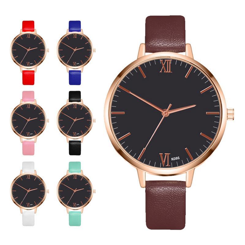 Fashion Elegant Ladies Business Quartz Watch Minimalist Creative Casual Leather Ladies Daily Accessories Table