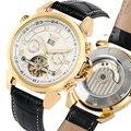 Мужские механические часы с кожаным ремешком  двухкратные автоматические механические часы с календарем  мужские подарки