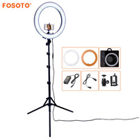 FOSOTO RL 18 5500K Photographic Lighting Dimmable Camera Photo Studio Phone Ring Lamp Photography Led Ring Light Tripod Stand
