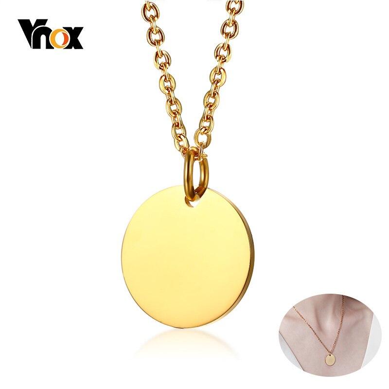 Solid 14k Yellow Gold Plain .018 Gauge Circular Engravable Disc Pendant Charm 12mm x 19mm