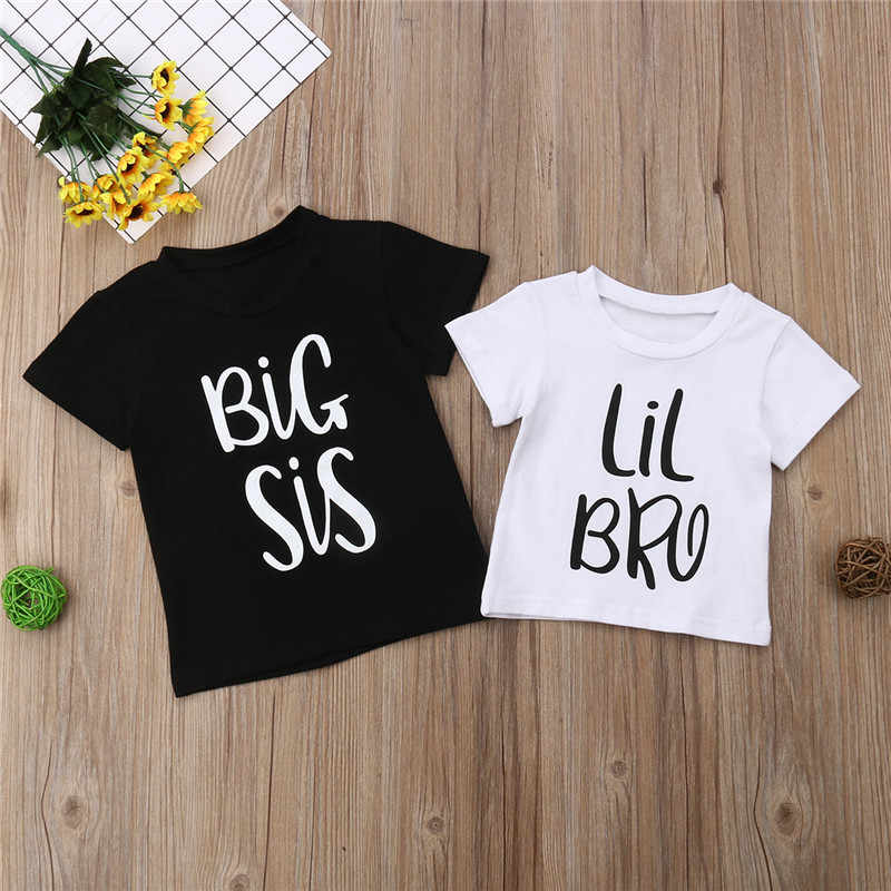 Canis Summer Kids Baby Little Brother Romper Big Sister T-shirt Casual Clothes