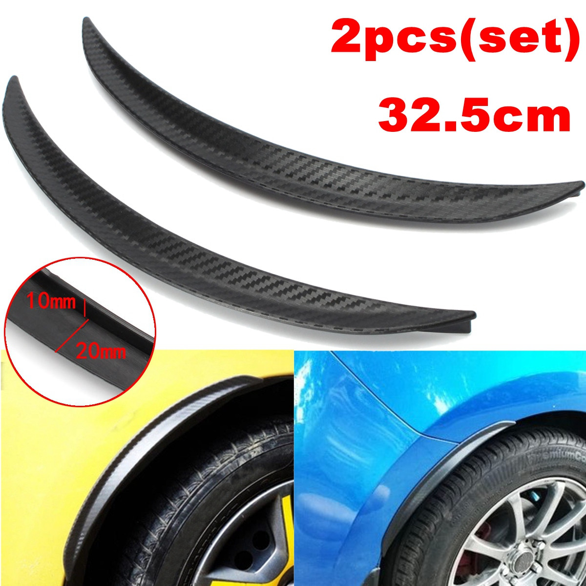 2pcs 32.5cm Car for Fender Flares Carbon Fiber Wheel Arch Eyebrow Eyelid Lips Guard Protector Universal